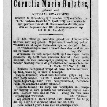 bidprent voor Cornelia Maria Hulskes. Geboren 17-11-1827 te Culemborg. Overleden 07-04-1897 te Culemborg