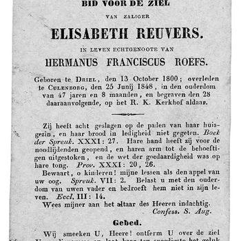 bidprent voor Elisabeth Reuvers. Geboren 13-10-1800 te Driel, overleden 25-06-1848 te Culemborg