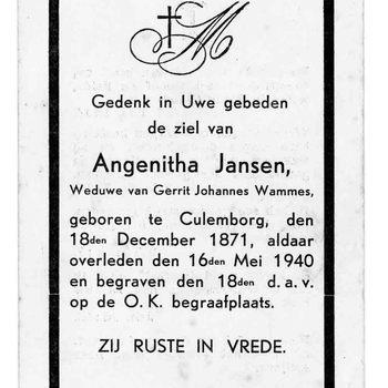 bidprent voor Angenitha Jansen. Geboren 18-12-1871 te Culemborg. Overleden 16-05-1940 te Culemborg