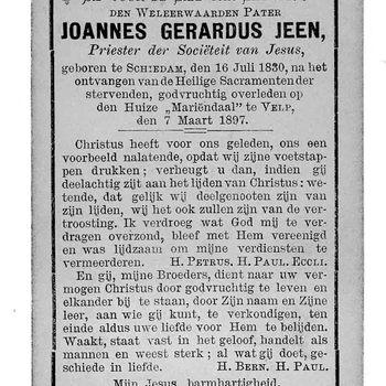bidprent voor Joannes Gerardus Jeen. Geboren 16-07-1830 te Schiedam. Overleden 07-03-1897 te Velp