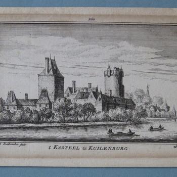 gravure voorstellende het Kasteel te Culemborg, vervaardigd door Abraham Rademaker, ca. 1725