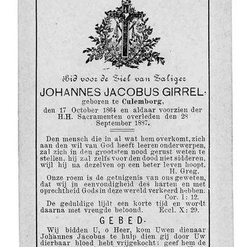 bidprent voor Johannes Jacobus Girrel. Geboren 17-10-1864 te Culemborg. Overleden 28-09-1887 te Culemborg
