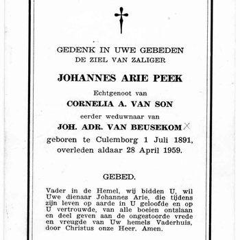 bidprent voor Johannes Arie Peek. Geboren 01-07-1891 te Culemborg. Overleden 28-04-1959 te Culemborg