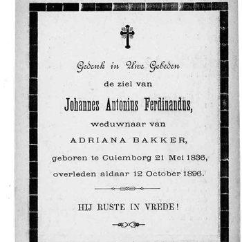 bidprent voor Johannes Antonius Ferdinandus. Geboren 21-05-1836 te Culemborg. Overleden 12-10-1896 te Culemborg