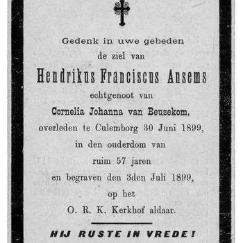 bidprent voor Hendrikus Franciscus Ansems. Geboren 1842. Overleden 30-06-1899 te Culemborg