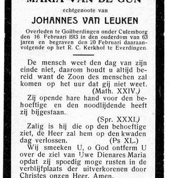 bidprent voor Maria van de Gun. Overleden 16-02-1913 te Goilberdingen