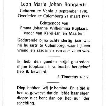 bidprent voor Leon Marie Johan Bongaerts. Geboren 03-09-1910 te Venlo. Overleden 21-03-1977 te Culemborg