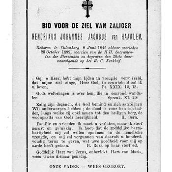 bidprent voor Hendrikus Johannes Jacobus van Haarlem. Geboren 08-06-1845 te Culemborg. Overleden 23-10-1899 te Culemborg