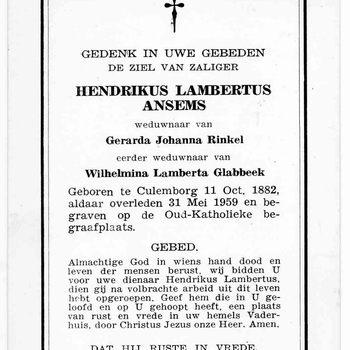 bidprent voor Hendrikus Lambertus Ansems. Geboren 11-10-1882 te Culemborg. Overleden 31-05-1959 te Culemborg