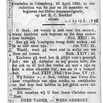 bidprent voor Goijert Wammes. Geboren 17-06-1798 te Culemborg. Overleden 22-04-1882 te Culemborg