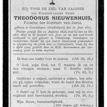 bidprent voor Theodorus Nieuwenhuis. Geboren 12-06-1823 te Gendringen. Overleden 02-04-1900 te Oudenbosch