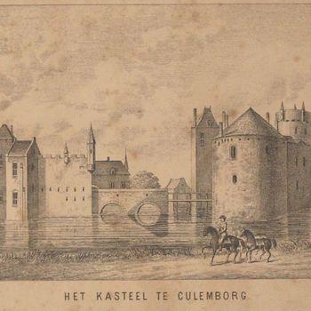 litho, voorstellende gezicht op het kasteel Culemborg, vervaardigd door C.Mooy, ca. 1880, naar de toestand in ca. 1620 op een tekening van Abraham Rademaker.