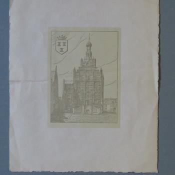tekening voorstellende het stadhuis te Culemborg, geassocieerd met A.T. Verschoor & Zn. circa 1950