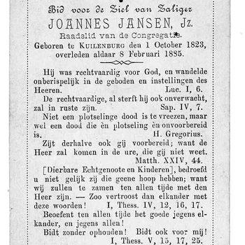 bidprent voor Joannes Jansen, Jz. Geboren 01-10-1823 te Culemborg. Overleden 08-02-1885 te Culemborg