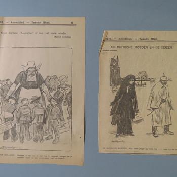 prenten uit de Telegraaf, geassocieerd met Eerste Wereldoorlog, gepubliceerd tussen 1914 en 1918