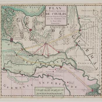 Kaart, gravure, voorstellende een kaart afbeeldende het stroomgebied van Maas, Waal, Rijn, Linge, IJssel met Culemborg als Civilenburg, gedrukt en ingekleurd door onbekende 18e eeuwse drukker