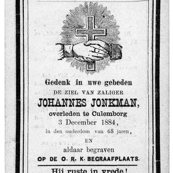 bidprent voor Johannes Jonkman. Geboren 1816. Overleden 03-12-1884 te Culemborg