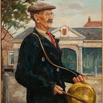 Portret, olieverf op doek, voorstellende stadsomroeper Manus van Empel te Culemborg, vervaardigd naar foto door Willem van Keulen, 1998/1999.