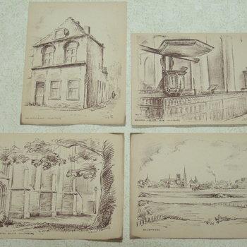 Afbeeldingen van tekeningen op papier.