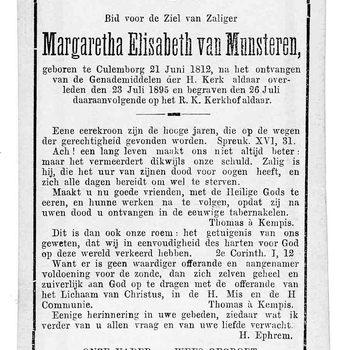 bidprent voor Margaretha Elisabeth van Munsteren. Geboren 21-06-1812 te Culemborg. Overleden 23-07-1895 te Culemborg