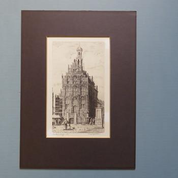 gravure voorstellende stadhuis op de Markt, gesigneerd C. Borgstein, Culemborg