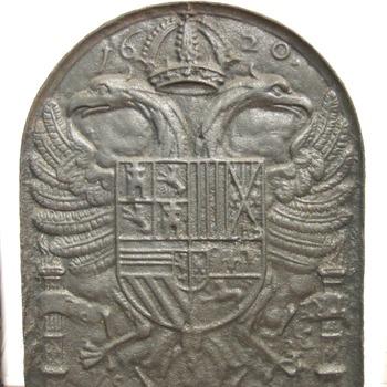 haardplaat van gietijzer, gedateerd 1620