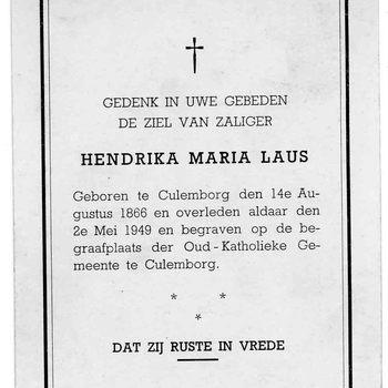 bidprent voor Hendrika Maria Laus. Geboren 14-08-1866 te Culemborg. Overleden 02-05-1949 te Culemborg