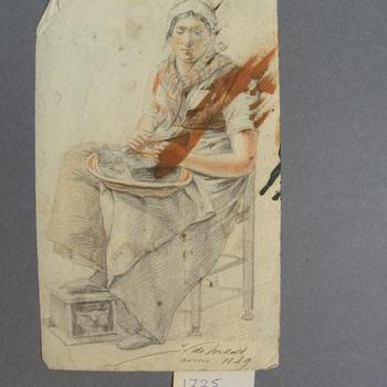 Potloodtekening voorstellende vrouw op stoel, gemaakt door J. de Weldt, 1849.