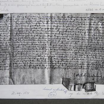 charter op perkament uit 1511, met handtekening van Elisabeth van Culemborg