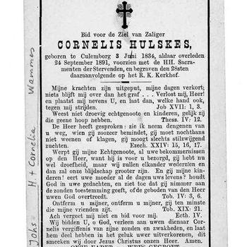 bidprent voor Cornelis Hulskes. Geboren 03-06-1834 te Culemborg. Overleden 24-09-1891 te Culemborg