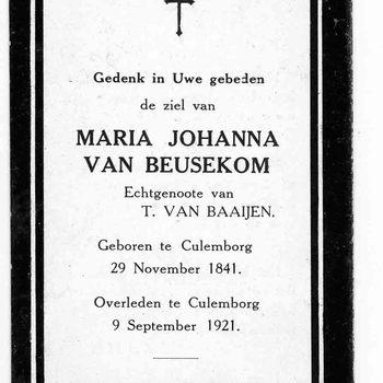 bidprent voor Maria Johanna van Beusekom. Geboren 29-11-1841 te Culemborg. Overleden 09-09-1921 te Culemborg