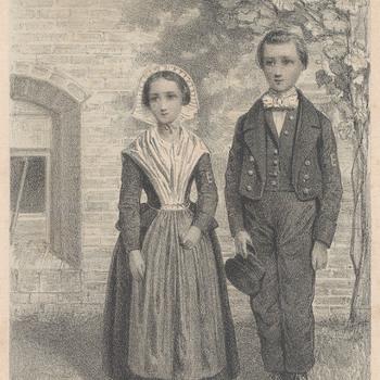 Litho, voorstellende meisje en jongen in het kostuum der wezen van het Elisabeth Weeshuis te Culemborg, getekend door Van Erp Taalman Kip en gedrukt door P.v.d. Weyer in 1860