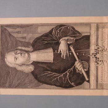 gravure voorstellende Abraham van Riebeeck vervaardigd door I. Ledeboer circa 1740