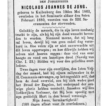 bidprent voor Nicolaus Joannes de Jong. Geboren 19-05-1862 te Culemborg. Overleden 08-02-1880 te Culemborg