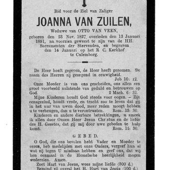 bidprent voor Joanna van Zuilen. Geboren 23-11-1827. Overleden 13-01-1891