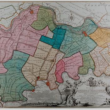 gravure voorstellende kaart van de graafschappen Buren en Culemborg, Mr. Jacob Perrenot, 1761