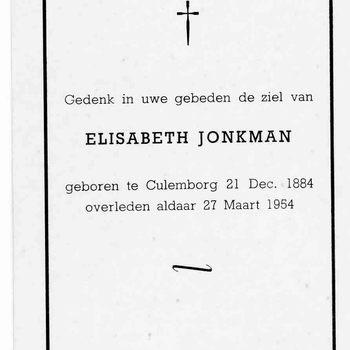 bidprent voor Elisabeth Jonkman. Geboren 21-12-1884 te Culemborg. Overleden 27-03-1954 te Culemborg