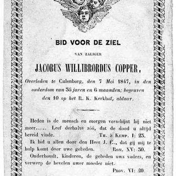 bidprent voor Jacobus Willibrordus Copper. Geboren 1811, overleden 07-05-1847 te Culemborg