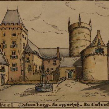 Aquarel, voorstellende reconstructie Kasteel Culemborg - De Opperhof - te Culemborg, 1944, vervaardigd door Theo A. Ausems