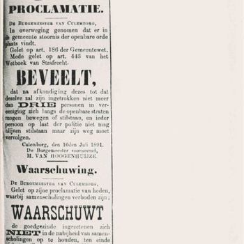 Foto, voorstellende proclamatie tegen verstoring openbare orde, Culemborg, 1891