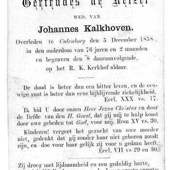 bidprent voor Gertrudes de Keizer. Geboren 1782, overleden 05-12-1858 te Culemborg