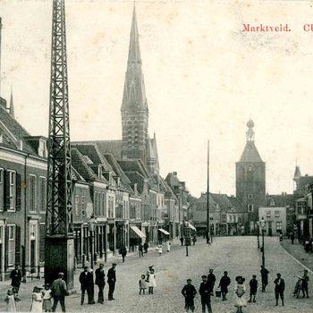 Ansichtkaart, voorstellende de Markt te Culemborg, 1905-1912