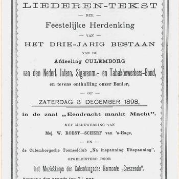 Foto, voorstellende het programma t.g.v het driejarig bestaan van de  Sigaren- en Tabaksbewerkers-Bond in 1898, Culemborg