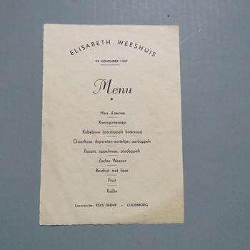 menukaart geassocieerd met het Elisabeth Weeshuis en Kees Deenik, Culemborg, 1947