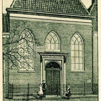 Ansichtkaart, voorstellende de Oudkatholieke kerk te Culemborg, 1900-1905