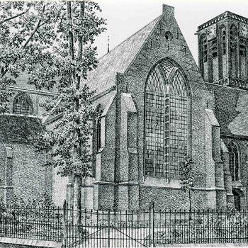 Foto, voorstellende een litho van de Grote of Barbarakerk te Culemborg, begin 20ste eeuw