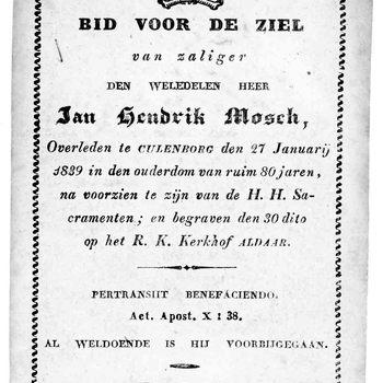 bidprent voor Jan Hendrik Mosch. Geboren 1759, overleden 27-01-1839 te Culemborg