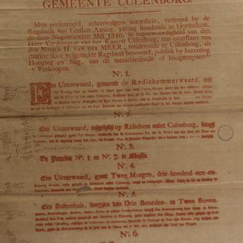 Affiche voor de verkoping van uiterwaarden etc. onder Culemborg, gedrukt bij de Wed. P. Muntendam te Utrecht, 1819