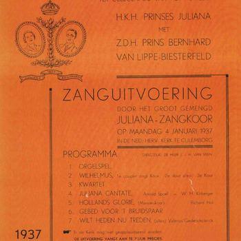 Foto, voorstellende programma feestelijkheden huwelijk prinses Juliana, Culemborg, 1937