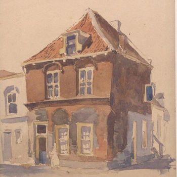 aquarel, voorstellende het Jan van Riebeeckhuis te Culemborg, vervaardigd door H.E. Roodenburg, circa 1920